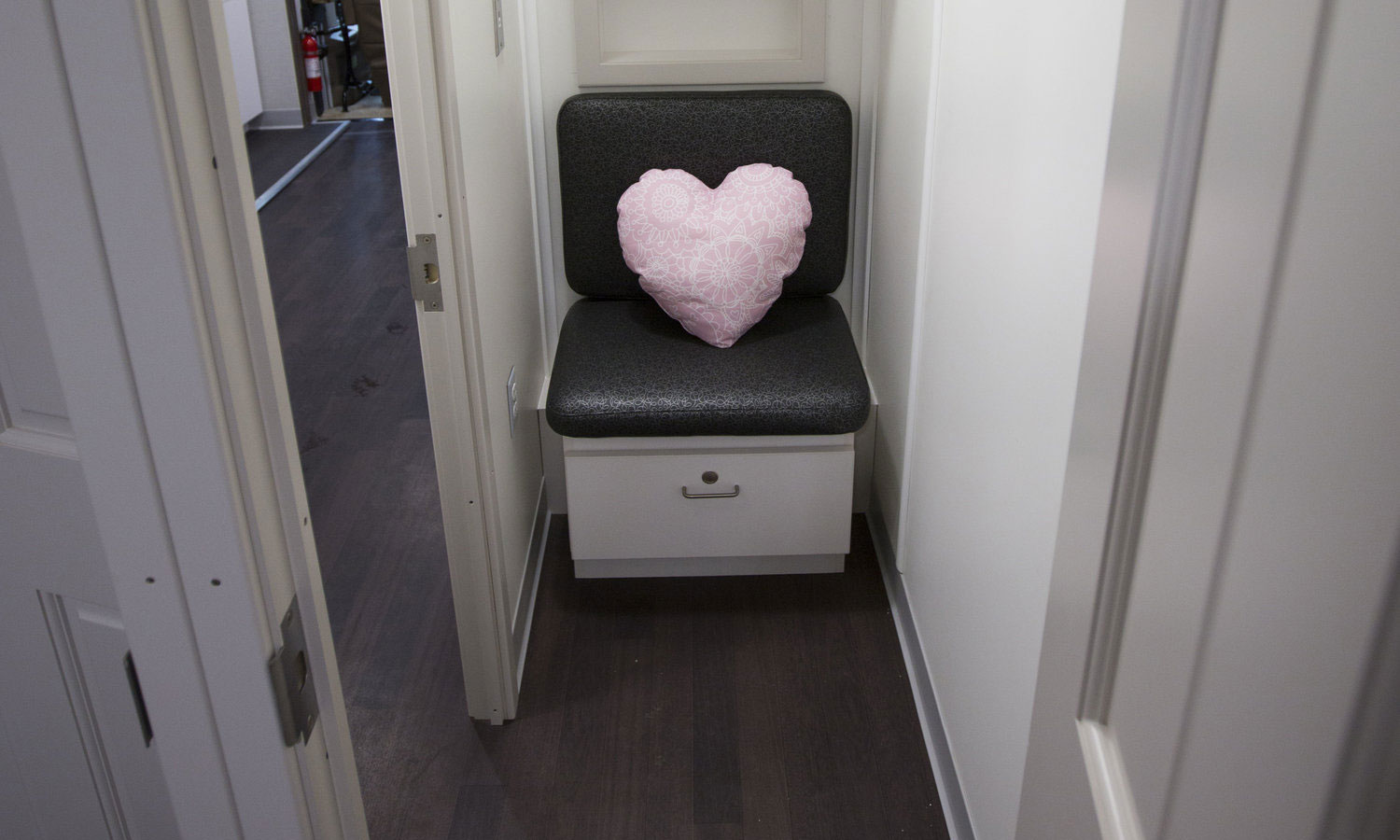 seat in mammovan with heart pillow